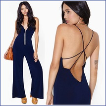 Sleeveless Navy V Neck Wide Leg Backless Chiffon Jumpsuit