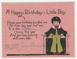 Vintage Birthday Card Little Boy 1920's Old Fashioned Child - $8.90