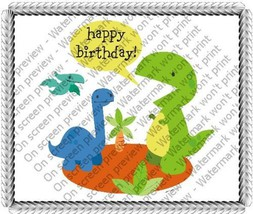 "6"" Round ~ Happy Birthday Baby Dinosaurs Birthday ~ Edible Image Cake/Cu... - €7,44 EUR"