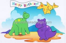 "6"" Round ~ Happy Birthday Dinosaur Banner Birthday ~ Edible Image Cake/C... - ₨497.85 INR"