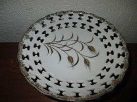 Vintage Lefton China Reticulated pedestal candy dish wheat design - $19.99