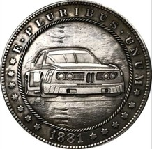 New Hobo Nickel 1881 USA Morgan Dollar Car GTO Pontiac Dirt Racing Caste... - $11.99