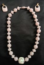 "Vintage Avon Pink Necklace Pierced Earrings Set Beads 18"" Length Princes... - $16.82"
