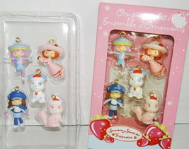 STRAWBERRY SHORTCAKE CHRISTMAS TREE ORNAMENTS 5 PIECE DOLLS PETS MINT IN... - $18.98