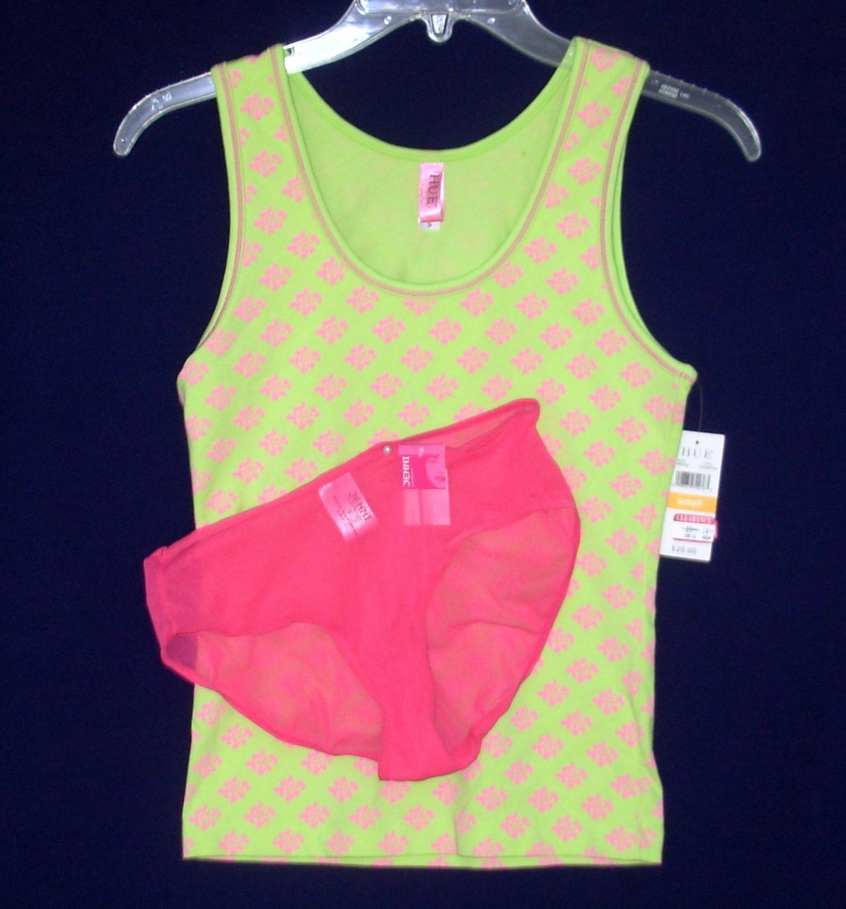 New HUE Sleep Tank Top JENNI Panties Lime Hot Pink SMALL