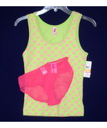 New HUE Sleep Tank Top JENNI Panties Lime Hot Pink SMALL - $12.00