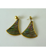 Iridescent abalone shell vintage pierced gold t... - $9.97
