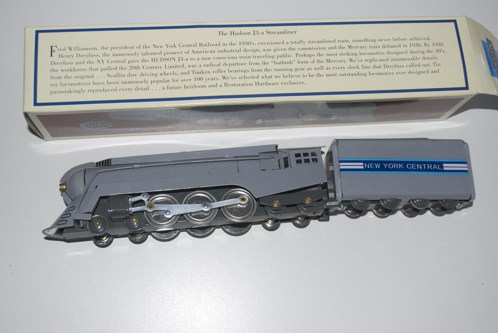 Hudson J3-a Stremliner Locomotive Tin Train Engine Toy Restoration Hardware