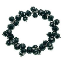 NEW BLACK CRYSTAL CLUSTER   STRETCH  BRACELET - ₨648.62 INR