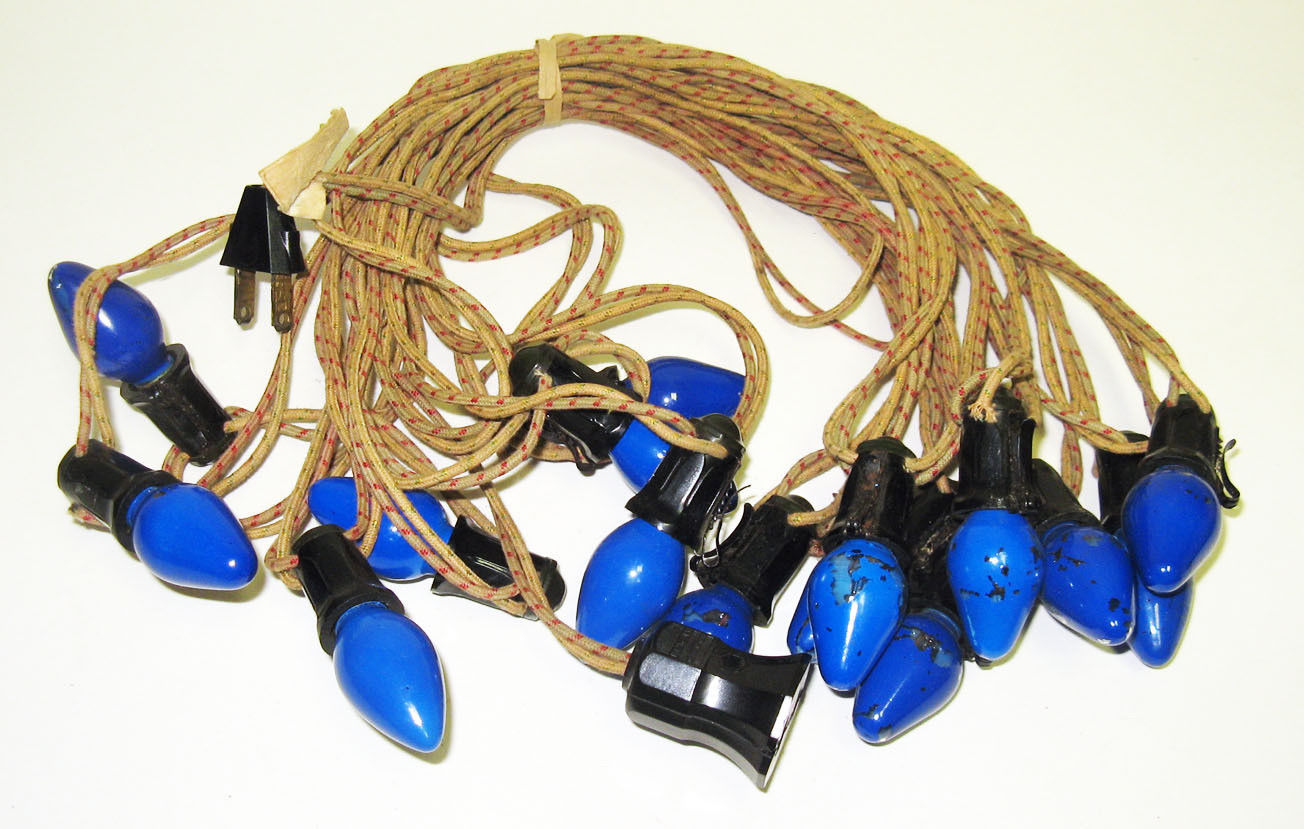 Primary image for Vintage C-7 Christmas Lights - Cloth Strand with 15 Blue Bulbs