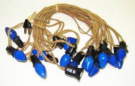 Vintage C-7 Christmas Lights - Cloth Strand with 15 Blue Bulbs - $17.99