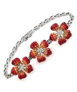 "Invisible Set 24 CT Natural Orange Sapphire & Diamonds 18K Gold Bracelet 7"" - $7,915.05"