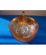 Dugan Iridescent marigold carnival glass candy dish with handle. - $15.00