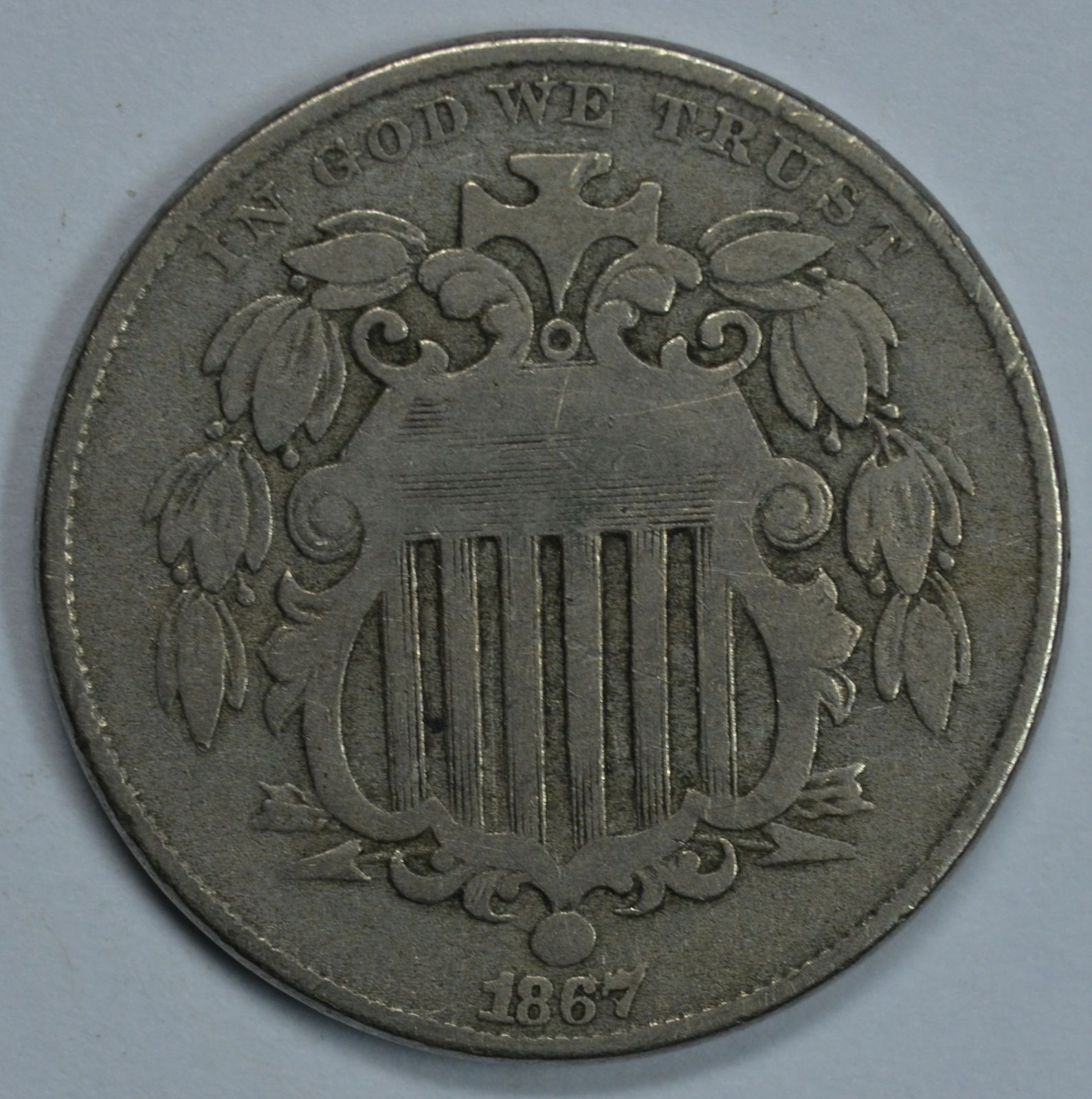 Primary image for 1867 Shield nickel VG/F details