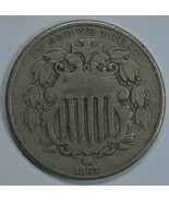 1867 Shield nickel VG/F details - $30.00
