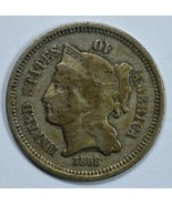 1868 3 cent circulated copper nickel F details - $18.00
