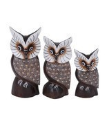 Perched Owl Wide Eyed Family of 3 Owls Painted ... - $29.99