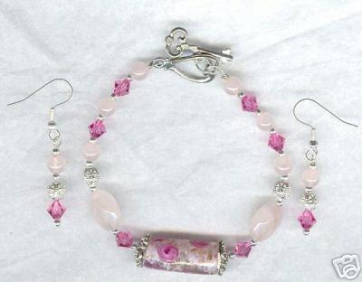 Rose Quartz Crystal Lampwork Silver Bracelet and Earring Set