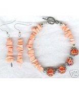 Pink Bamboo Coral Encased Lampwork Bracelet Earring Set - $23.99