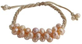 Hand Knitted Interwoven Braid Bracelet Peach Freshwater Pearl Jewelry - $15.98