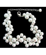 Gorgeous Bridal Bracelet Twisted White Pearl Br... - $14.03