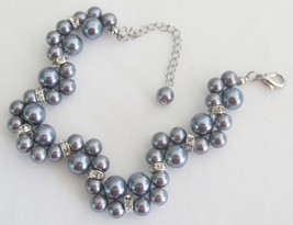 Wedding or Prom Handmade Interwoven Twisted Gray Pearls Bracelet - $14.03