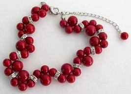 Holiday Gift Bridal Bracelet Twisted Red Pearl Handmade Artisan Jewelr - $14.03