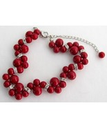 Holiday Gift Bridal Bracelet Twisted Red Pearl ... - $14.03