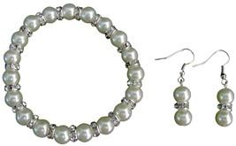 Sparkling Bling Bling Ivory Pearl Stretchable Bracelet Earrings Set - $13.38