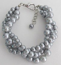 Tripple Strand Silver Pearl Gray Pearl Bracelet At Amazing Price - $15.98