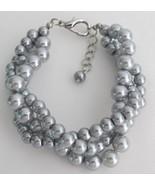 Tripple Strand Silver Pearl Gray Pearl Bracelet... - $15.98