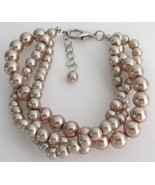 Twisted Three Strand Bracelet Champagne Pearl B... - $15.98