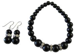 Handmade Stretchable Black Pearl Bracelet Matching Earrings Gift - $14.03