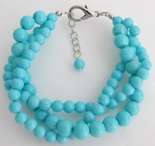 Turquoise 3 Strand Bracelet Gift Your Girl Friend Holiday Wear - $15.98