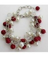 Christmas Holiday Red Ivory Pearls Cluster Clea... - $14.68