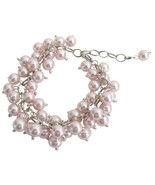 Chunky Cluster Beaded Bracelet In Soft Pink Jew... - $15.98