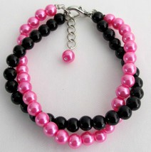 Black And Fuchsia Pearls Jewelry Twisted Bracelet Gift - $14.03