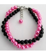 Black And Fuchsia Pearls Jewelry Twisted Bracel... - $14.03