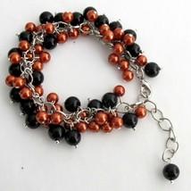 Halloween Style Bracelet Cluster Beaded Chunky Orange Black Pearls - $14.68