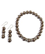 Brown Pearl Jewelry Stretchable Bracelet Earrin... - $14.68