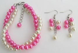 Fuchsia Pearl Cream Pearl Twisted Bracelet Wedding Gift - $15.98