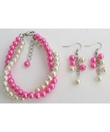 Fuchsia Pearl Cream Pearl Twisted Bracelet Wedd... - $15.98