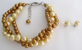 Bridesmaid Jewelry Pearl Bracelet Fields of Gold Yellow Wedding Set - $19.88