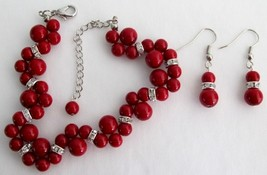 Wedding Popular Items In Red Pearls Twisted Bracelet With Matching Ear - $18.58