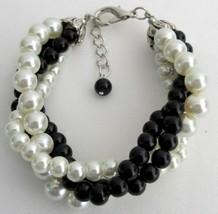 Black Ivory Pearl Bracelet Costume Wedding Jewelry 4 Strand Bracelet - $18.58