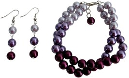 Pretty Wedding Jewelry In Plum Color Two Strand Bracelet with Earrings - $17.28