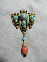 Art Deco 30's Czech Neiger Brothers Brass/Stones Asian Dangle Brooch/Pen... - $149.99
