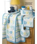 Y136 Crochet PATTERN ONLY Baby Boy Blanket Bib ... - $8.45