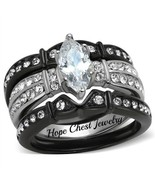 WOMEN'S BLACK STAINLESS STEEL 1 CT MARQUISE CUT CZ WEDDING RING SET SIZE... - $22.04