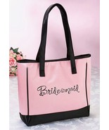Pink Bridesmaid Tote Bag Wedding Bridal Shower Gift Party Embroidered - $17.90